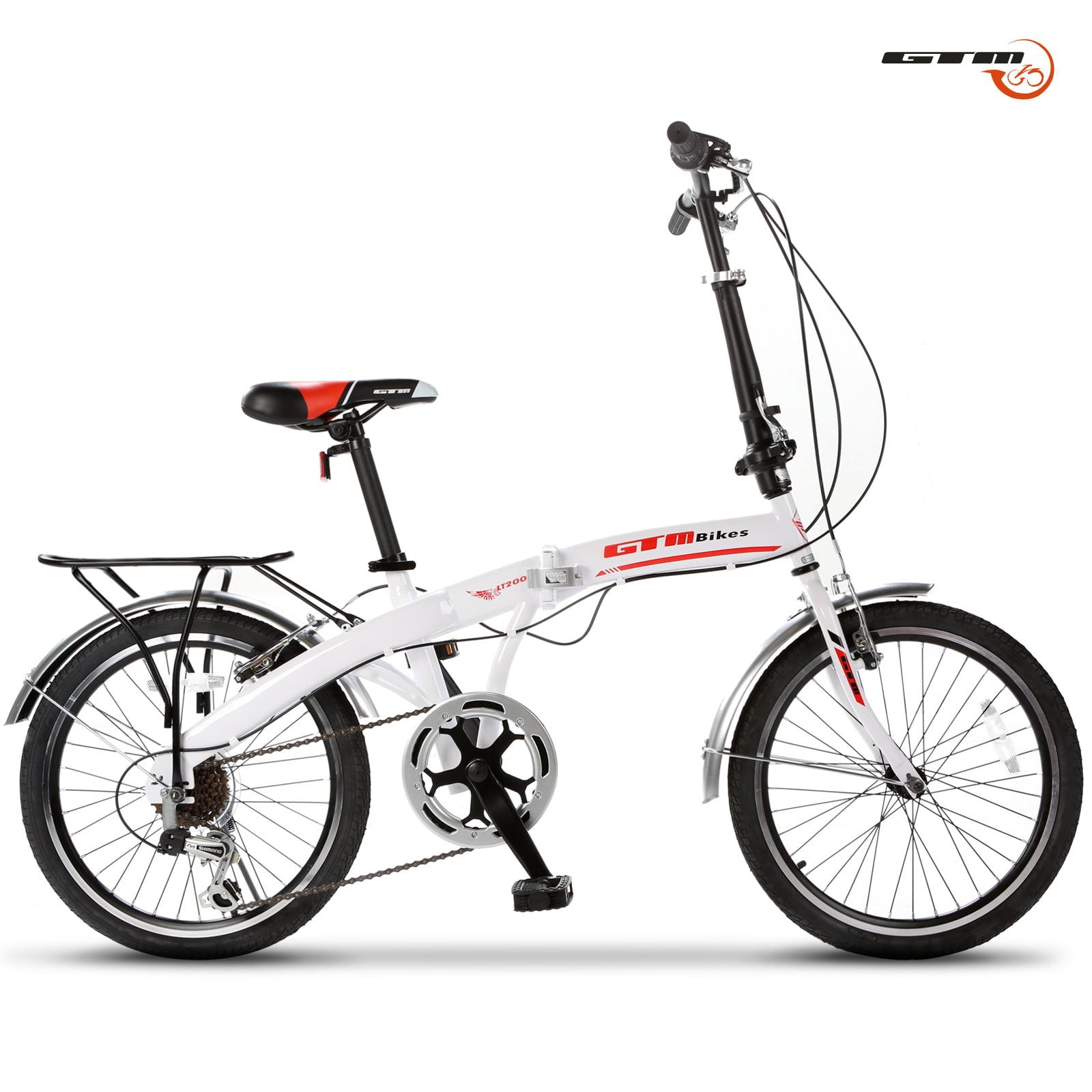 "Uenjoy 20"" Folding Bike Foldable Mountain Bike Shimano 6 Speed Bicycle,White by Uenjoy"