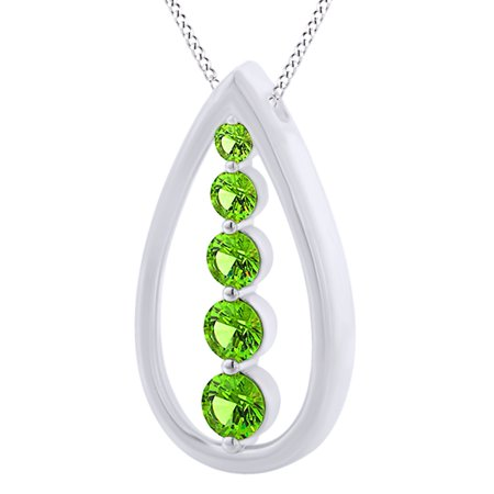 Round Cut Simulated Green Peridot Five Stone Teardrop Pendant Necklace In 14K Solid White Gold By Jewel Zone