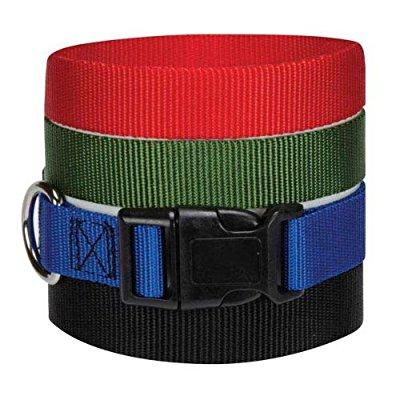guardian gear nylon adjustable dog collar with plastic buckles, fits necks 18 to 26, red
