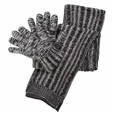 Isotoner Womens Knit Gloves And Cable Scarf Gift Boxed Set Black   Grey