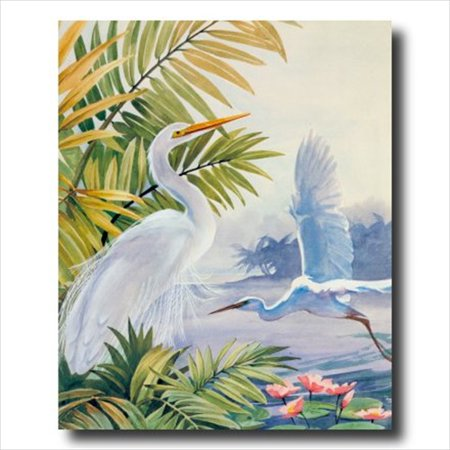 Tropical Beach Pictures (Egret Bird Tropical Lake Beach Wall Picture Art Print)