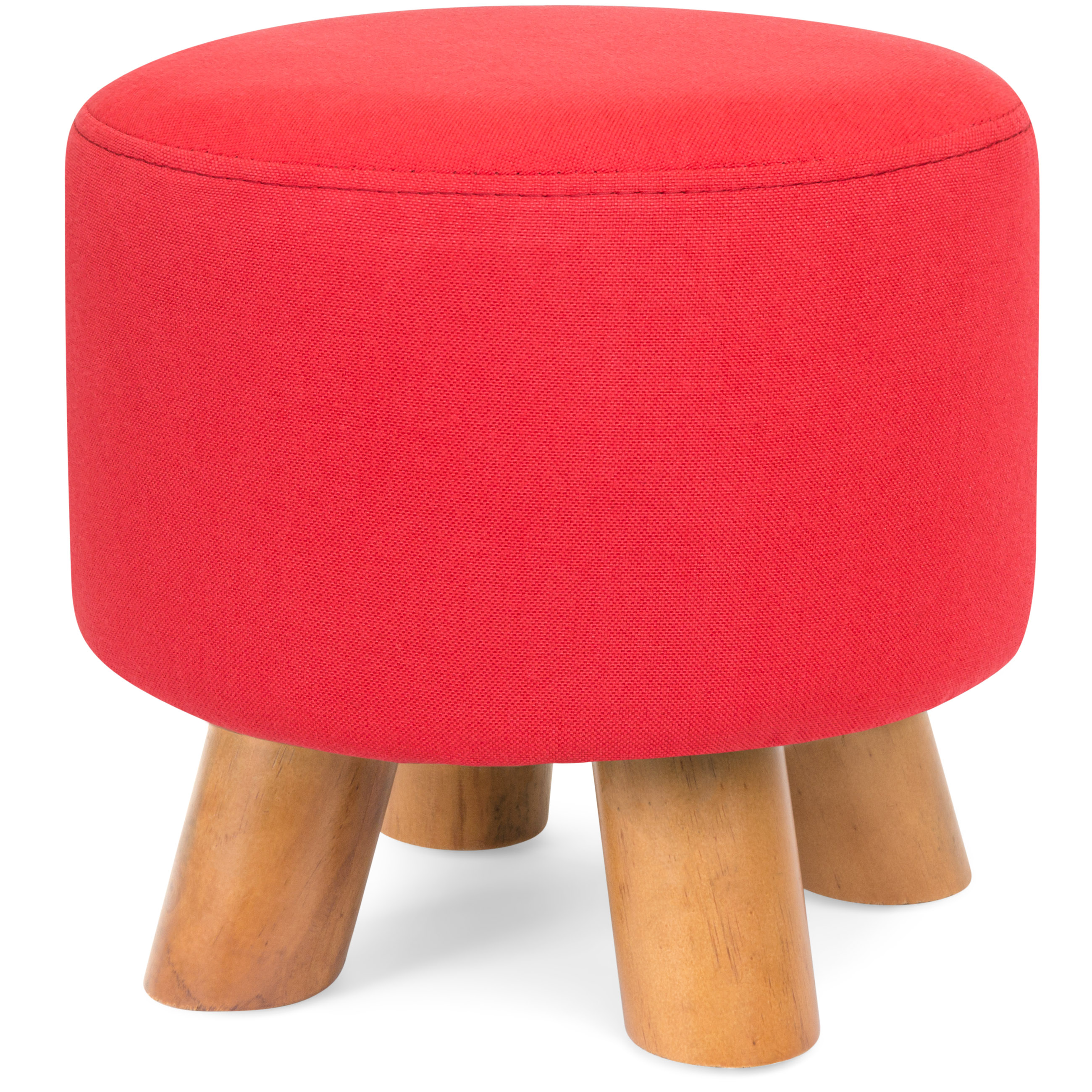 Best Choice Products Upholstered Padded Lightweight Pouf Ottoman Footrest Stool w/ Removable Linen Cover, Non-Skid Wooden Legs, 440lbs Weight Capacity - Red