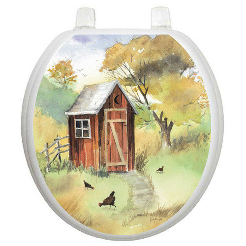 Toilet Tattoos Themes Watercolor Outhouse Toilet Seat Decal
