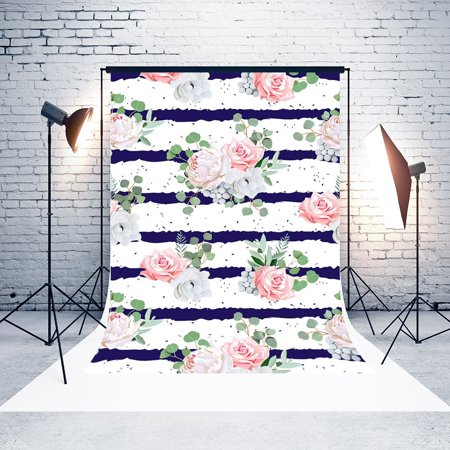 Pink Stripe Background (GreenDecor Polyster 5x7ft Valentine's Day Backgrounds Pink Rose Flowers Blue and White Stripes Wedding Photo Backdrop Studio Props)