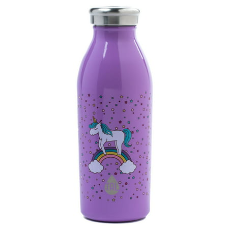 Tal 12 Ounce Stainless Steel Double Wall Vacuum Insulated Modern Unicorn Print Water Bottle (Tal Fai)