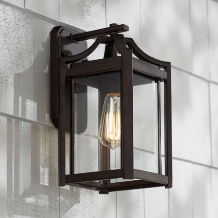 - Franklin Iron Works Rustic Farmhouse Outdoor Wall Light Fixture Bronze 12 1/2