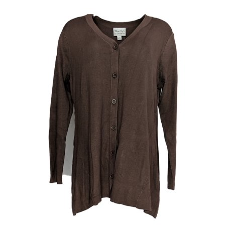 Linea by Louis Dell'Olio Women's Sweater Sz L Knit V-Neck Cardigan Brown A267864 Chocolate Brown Cardigan
