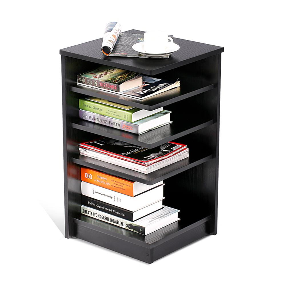 Walfront Multi Function Bedroom Corner Storage Cabinets Bedside Table  Bookshelf Nightstand Bookcase, 4