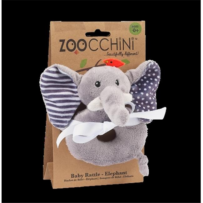 Zoocchini 41001 Baby Buddy Rattles with Elephant, Grey, 4 x 6 in.
