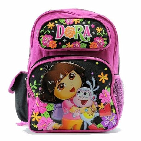 "Backpack - Dora The Explorer - Pink/Black Large School Bag Girls 16"" New 52200"