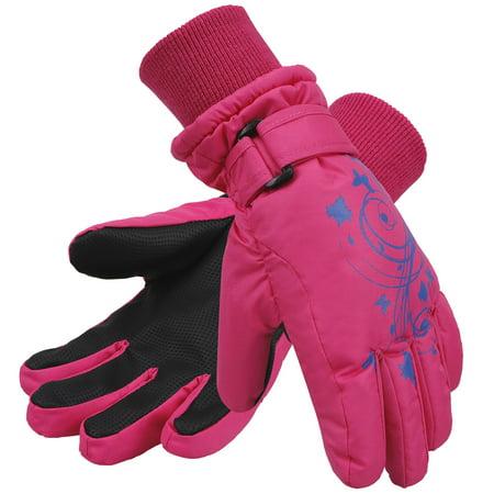 Girls Waterproof 3M Thinsulate Winter Ski   Snowboard Gloves  Butterfly Print L Pink