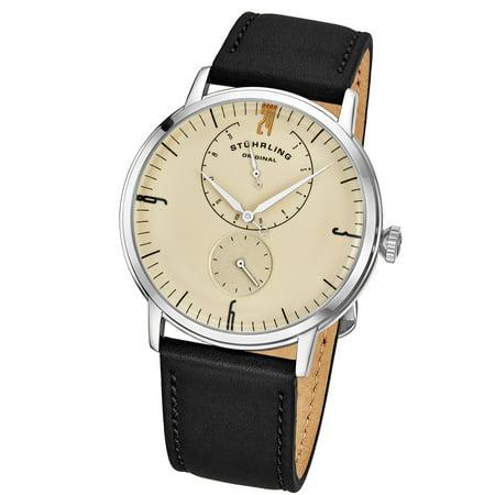 778.05 Men's Quartz Watch, Silver Case, Beige Dial, Black Genuine Horween® Leather - Mens Quartz Leather Strap