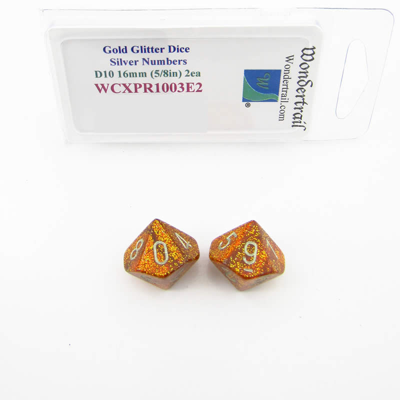 Gold Glitter Colored Dice with Silver Colored Numbers D10 Aprox 16mm (5/8in) Pack of 2 Wondertrail
