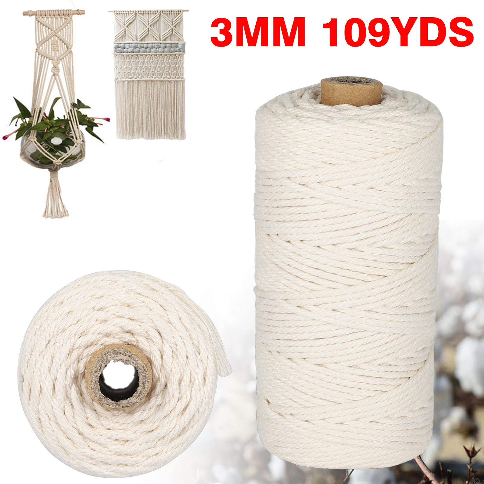 2x 100m//109yd Gold Glitter White Cotton Twine Wedding Party Gift Wrapping String