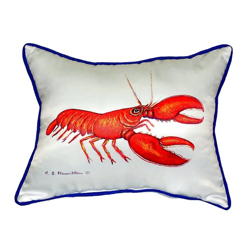 Betsy Drake Interiors Coastal Lobster Indoor/Outdoor Lumbar Pillow