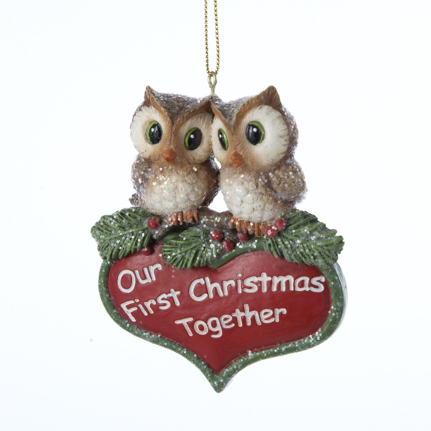 "3.25"" Storybook Garden Owl ""Our First Christmas Together"" Holiday Ornament"