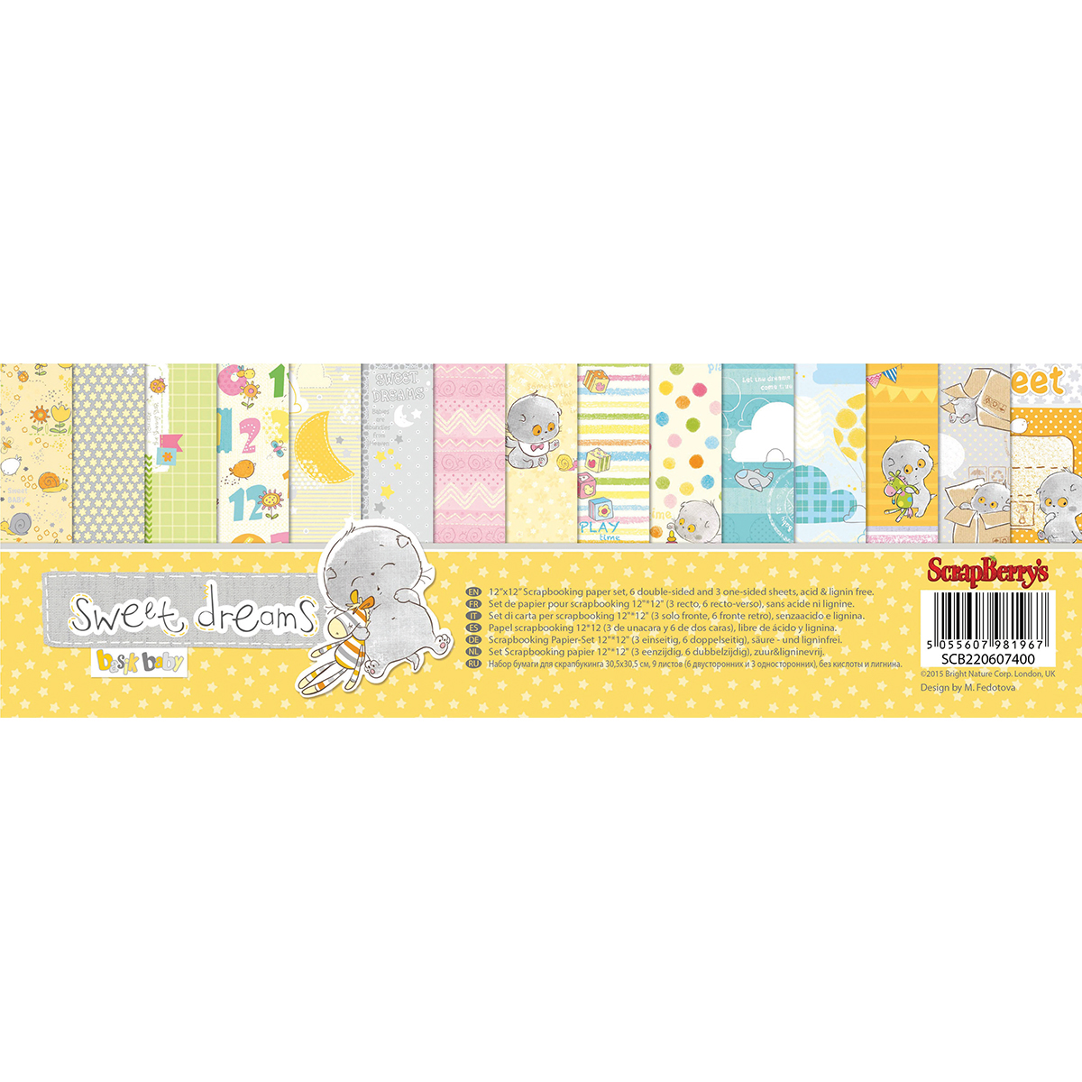 """ScrapBerry's Sweet Dreams Paper Pack 12""""X12"""" 9/Pkg-6 Double-Sided & 3 Single Sided"""