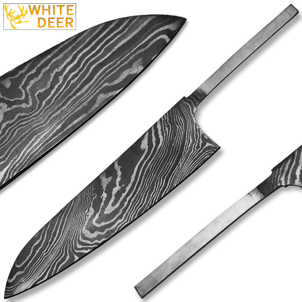 WHITE DEER Damascus Steel Chef Knife Blank Blade