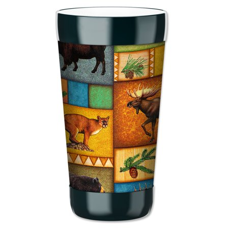 Mugzie 16 Ounce Tumbler Drink Cup With Removable Insulated Wetsuit Cover   Hunting Lodge
