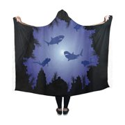 ASHLEIGH Scuba Divers and Sharks Hooded Blanket Fashion Pilling Polar Fleece Wearable Blanket Throw Blanket 50x60 Inches