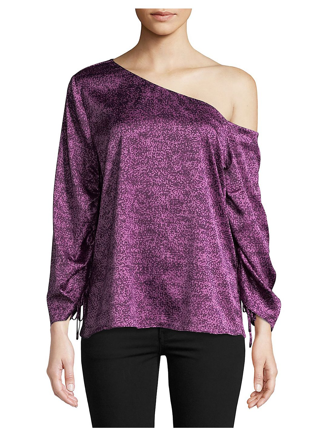 Drawstring-Sleeve One-Shoulder Top