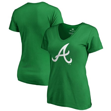 Atlanta Braves Fanatics Branded Women's St. Patrick's Day White Logo Plus Size V-Neck T-Shirt - Kelly Green - Plus Size St Patrick's Day Shirts