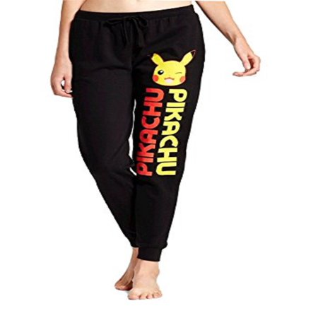 Pokemon Pikachu Women's Junior Fit Girls Black Fleece Jogger Pants Pajama Sweatpants (Small) - Pikachu Pants