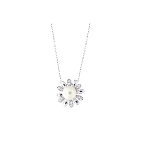 """Solid Sterling Silver Rhodium Plated Freshwater Pearl Cubic Zirconia Daisy Flower Pendant Necklace, 18"""""""