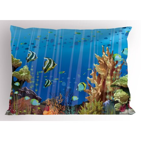 Marine Pillow Sham Majestic Universe Deep Underwater World Exotic Coral Reef with Sea Creatures Nature, Decorative Standard Size Printed Pillowcase, 26 X 20 Inches, Multicolor, by Ambesonne