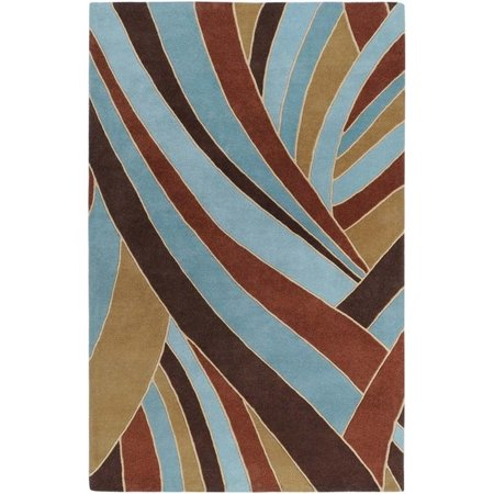 Surya Forum 5' x 8' Hand Tufted Wool Rug in Brown and Blue