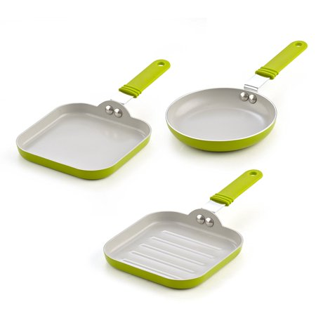 Cook N Home 02583 3 Piece Nonstick Ceramic Mini Fry Griddle, Grill Pan Set 3, 5.5-Inch,