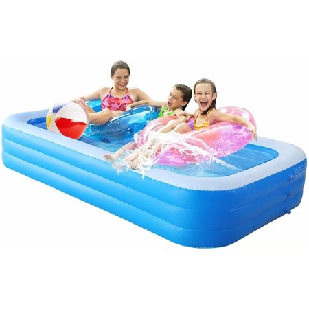 """SKONYON Inflatable Swimming Pool for Kids and Adults Above Ground Pools 120"""" x 72"""" x 22"""" Thickened Family Full-Sized Swimming Pool for Kiddie Outdoor Garden Backyard for Ages 3+"""