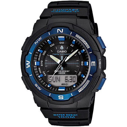 Casio Men's Twin Sensor Watch, Blue Accents