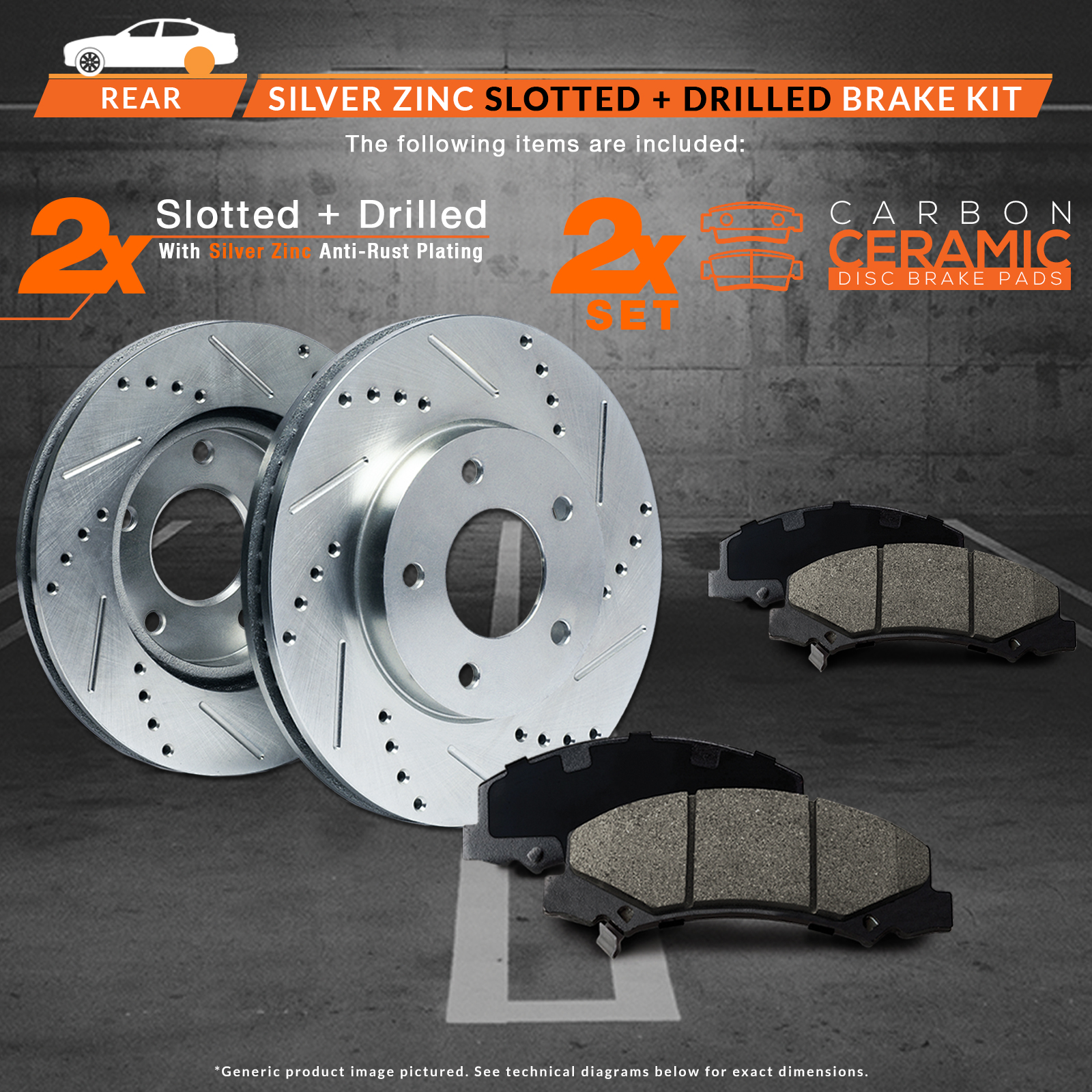 Max Brakes Rear Performance Brake Kit [ Silver Zinc Slotted Drilled Rotors + Ceramic Pads ] KT084712 | Fits: 2014 14 2015 15 Toyota Land Cruiser - image 6 de 8