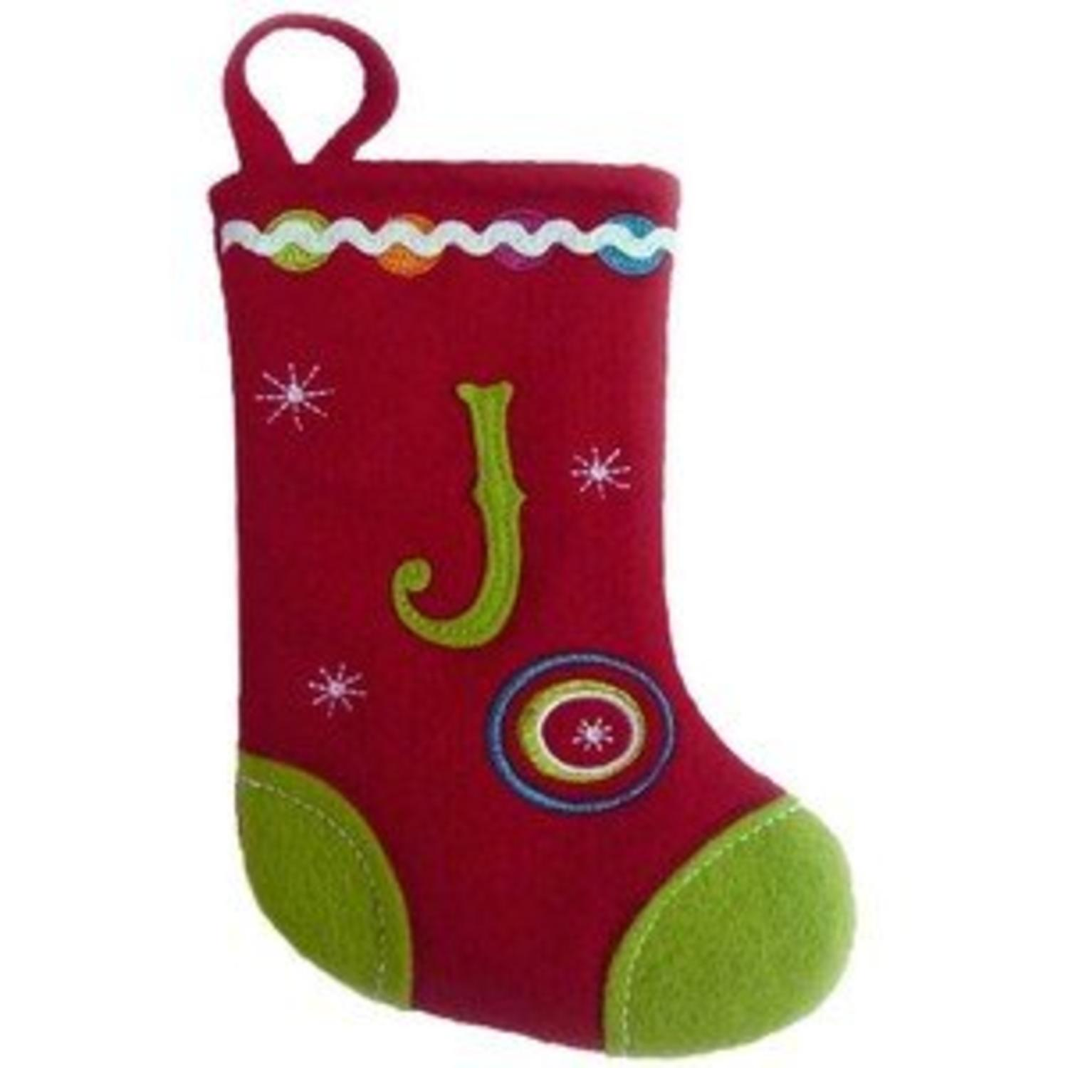 """6.25"""" Red and Green Monogrammed """"J"""" Mini Christmas Stocking"""