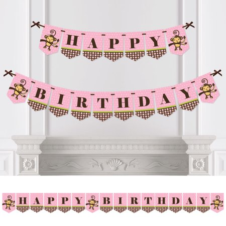 Monkey Girl - Birthday Party Bunting Banner - Pink Party Decorations - Happy Birthday - Happy Halloween Birthday Girl