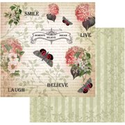 "Vintage Rose Garden Double-Sided Paper 12""X12""-Smile"