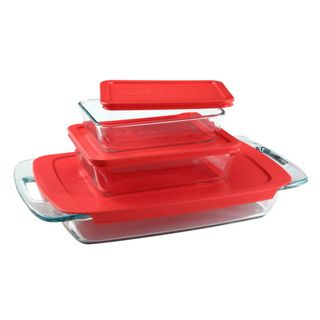 Pyrex Easy Grab Bake 'N Store 6-piece Value (Pyrex 10 Piece Storage Set With Lid)