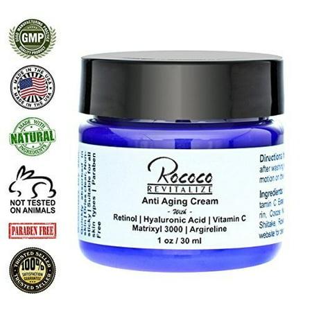 Anti Aging Cream with Retinol Vitamin a Hyaluronic Acid and Vitamin C Matrixyl 3000 Argireline Peptide - 1oz