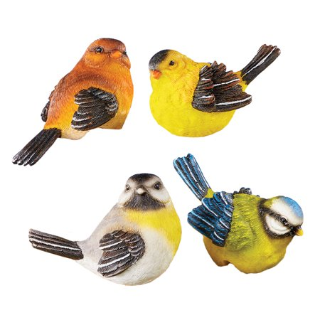 Charming Bird Pot Hangers - Set of 4, Hand-Painted Décor for Porch or Patio