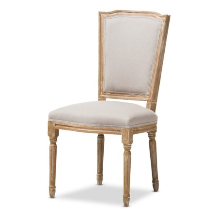 Baxton Studio Cadencia French Vintage Cottage Weathered Oak and Beige Upholstery Dining Side - Vintage Cottage