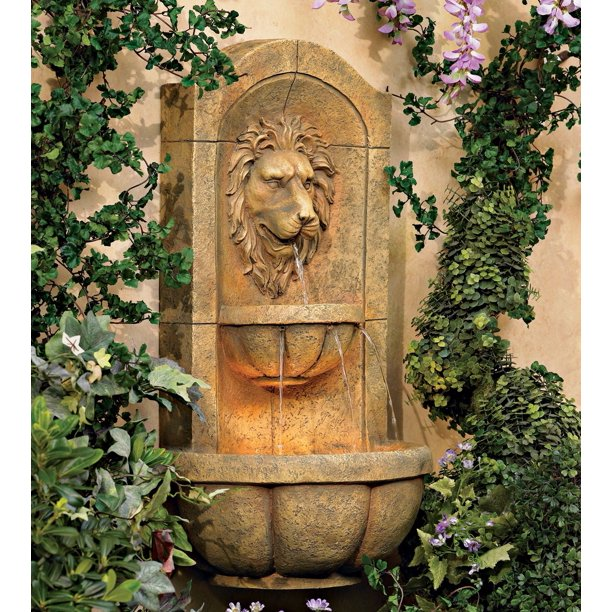 John Timberland Roman Outdoor Wall Water Fountain With Light Led 29 1 2 High 2 Tiered Lion Head For Yard Garden Patio Deck Home Walmart Com Walmart Com