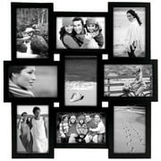 Black PUZZLE collage displays  9  4x6 photos