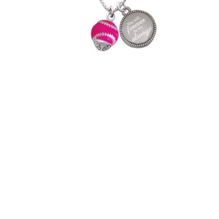 Silvertone Hot Pink Softball With Stitching Spinner You Will Forever Be My Always Engraved Necklace