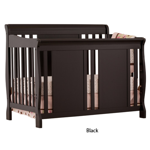 4 in 1 Fixed Side Convertible Crib in Black Finish