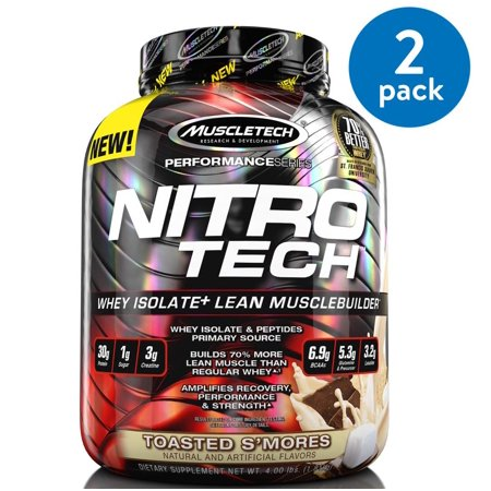 (2 Pack) Muscletech Nitro Tech Whey Isolate Protein Powder, Toasted S