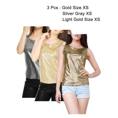 50fbf7adf33f96 Unique Bargains - Mother s Day Gift Women s U Neck Solid Slim Fit Stretch  Shiny Metallic Tank Top Blouse Shirt Gold XS (US 2) - Walmart.com