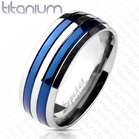 Titanium Double Willow (6mm Double Striped Blue IP Band Ring Solid Titanium Women's Ring (SIZE: 6) )