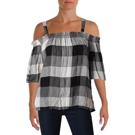 4Our Dreamers Womens Off The Shoulder Plaid Peasant - Plaid Toy Bag