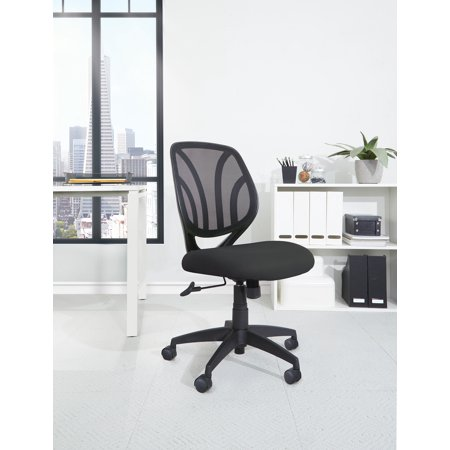 Chair Casters Carpet (Work Smart? Screen Back Armless Task Chair with Black Mesh and Dual Wheel Carpet Casters)